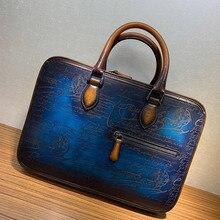seetoo Manual Love Letter Men's Handbag Briefcase High-quality Business Famous Brand Leathe