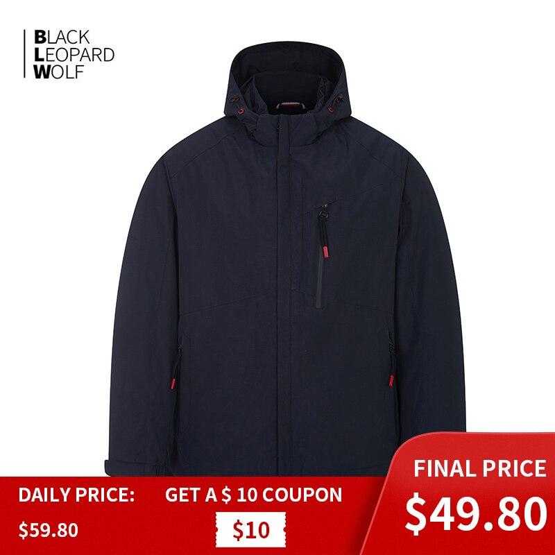 Blackleopardwolf   Men's Jacket Hooded Windbreaker Casual Windproof Male Thin Cotton Large Size Waterproof Business Coat ZC-6227