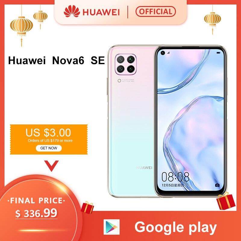Original Huawei Nova 6SE 6 SE Smartphone 8GB 128GB 48MP AI Cameras 16MP Front Camera 6.4'' FHD Screen Kirin 810 EMUI 10