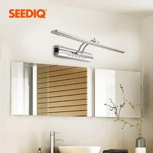 Image 1 - Luz moderna do espelho do banheiro 220v 110v 7w 40cm 9 55cm à prova dwaterproof água de aço inoxidável conduziu a lâmpada de parede com interruptor arandela luz de parede