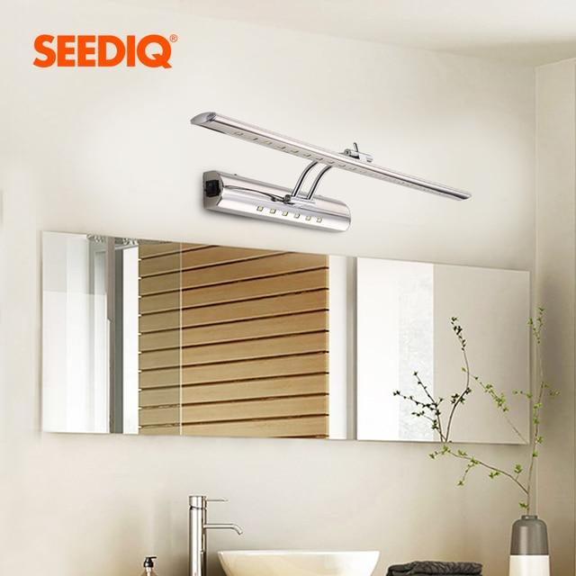 Luz moderna do espelho do banheiro 220v 110v 7w 40cm 9 55cm à prova dwaterproof água de aço inoxidável conduziu a lâmpada de parede com interruptor arandela luz de parede