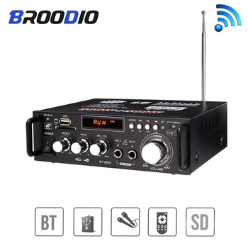 Digital Amplifier Hifi Stereo Wireless Audio Receiver Bluetooth USB SD Card FM Radio Power 2*300W amplificador With remote nobsound 320w wireless power amplifier hifi stereo digital amp bluetooth audio receiver