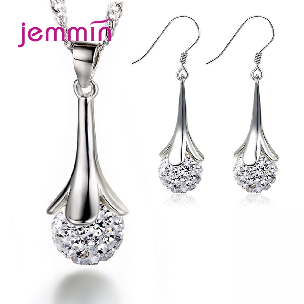 High Quality 925 Sterling Silver Shiny Crystal Bride Jewelry Sets Drop Shopping Flower Ball Pendant Necklace & Earrings Big Sale