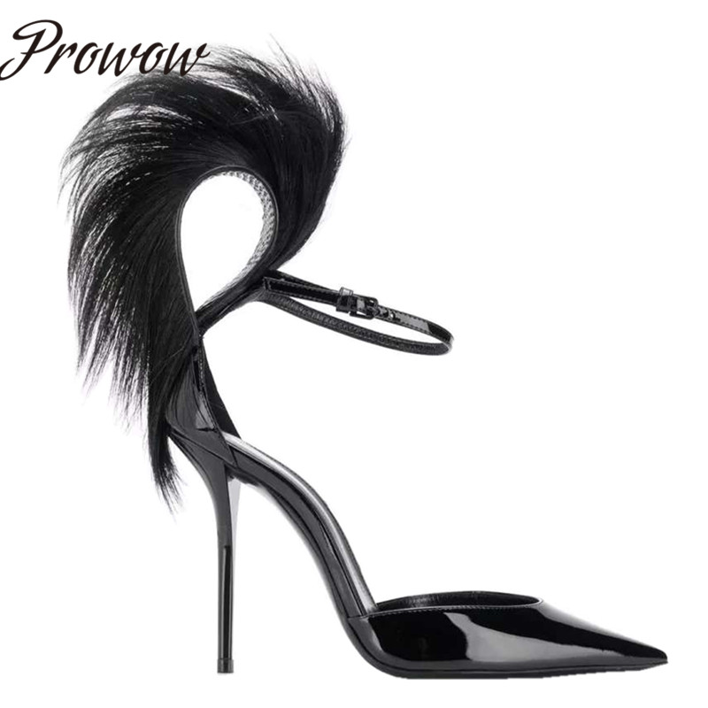 Prowow New Black Sexy Pointed Toe HIgh Heel Pumps Spring Summer Party Feather Thin HIgh Heel Pumps Shoes Women - 3