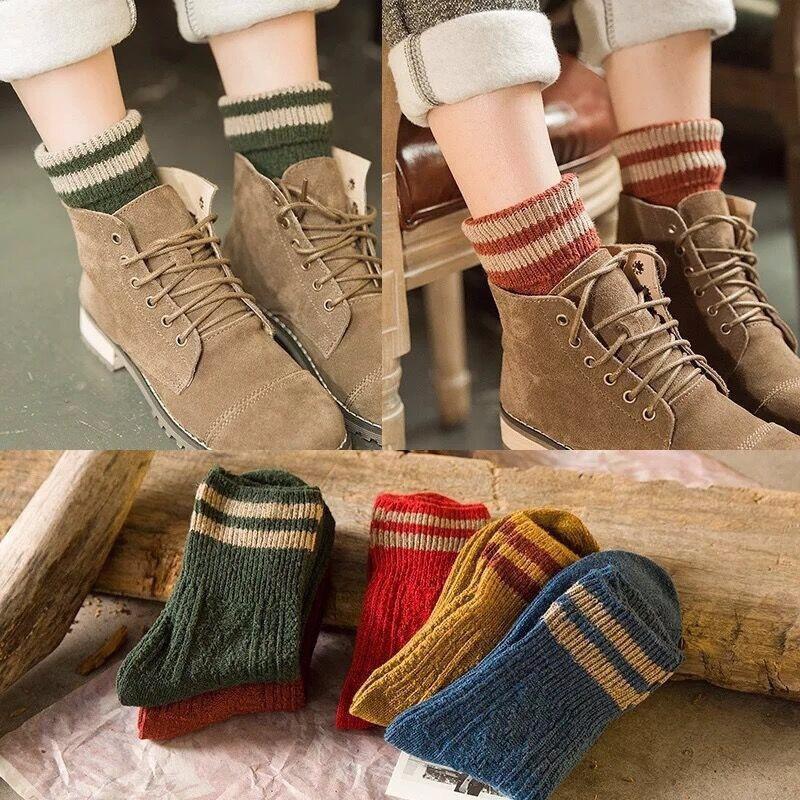 Japanese Harajuku Style Vintage Wool Socks Fashion Striped Pattern Female Winter Socks Warm College Wind Cute Girl Socks