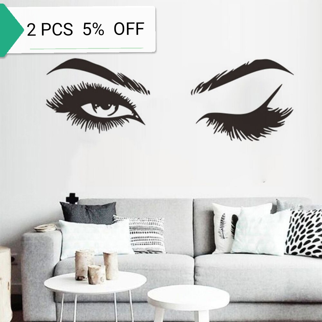Lash & Brows Eyes Quote Wall Stickers Fashion Vinyl Eyelashes Wall Decals For Girls Bedroom Eyebrows Store Beauty Salon Decor(China)