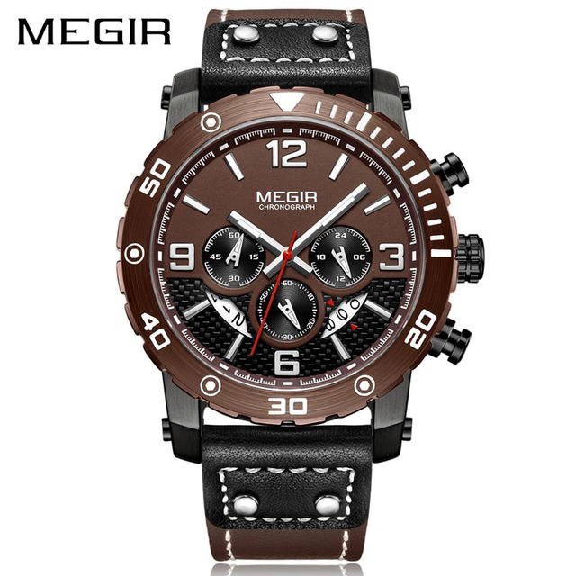MEGIR Watch Top Brand Man Watches with Chronograph Sport Waterproof Luminous Clock Man Watches Military Luxury Mens Quartz Watch | Fotoflaco.net