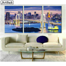 ArtBack 5d diy diamond painting bridge landscape full square mosaic usa golden gate night view home decoration