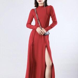 [EAM] Women Red Vent Split Joint Long Temperament Dress New Turtleneck Long Sleeve Loose Fit Fashion Spring Summer 2020 JZ343