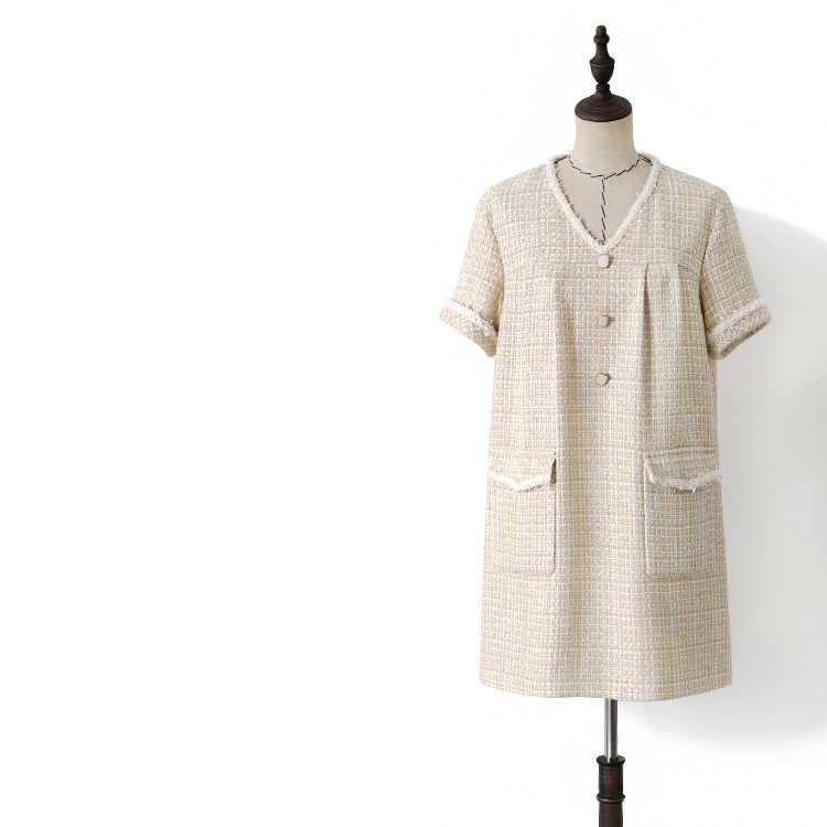 Женское твидовое платье в клетку с v образным вырезом элегантное свободное во