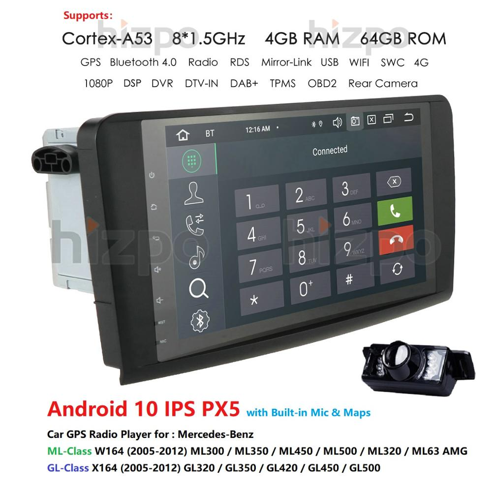 2 DIN 9Android 10 4G RAM Car GPS Navigation For Mercedes Benz ML GL W164 ML350 ML500 ML300 X164 GL350,450,500 DVR SWC USB ECT image