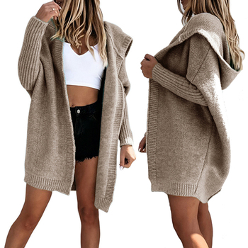 Cardigans Women Long Sweater Long Sleeve Sweater Knitted Winter Sweaters for Female Coat Plus Size Hooded Long Cardigan Women long cardigan women sweater autumn winter bat sleeve knitted sweater plus size jacket loose ladies sweaters coat plus size