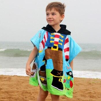 Kids Poncho Towels Hooded Bathrobe for Girls Boys Quick Dry Cotton Beach Towel Cartoon Children Bath Towel Baby Swimming Towel 6