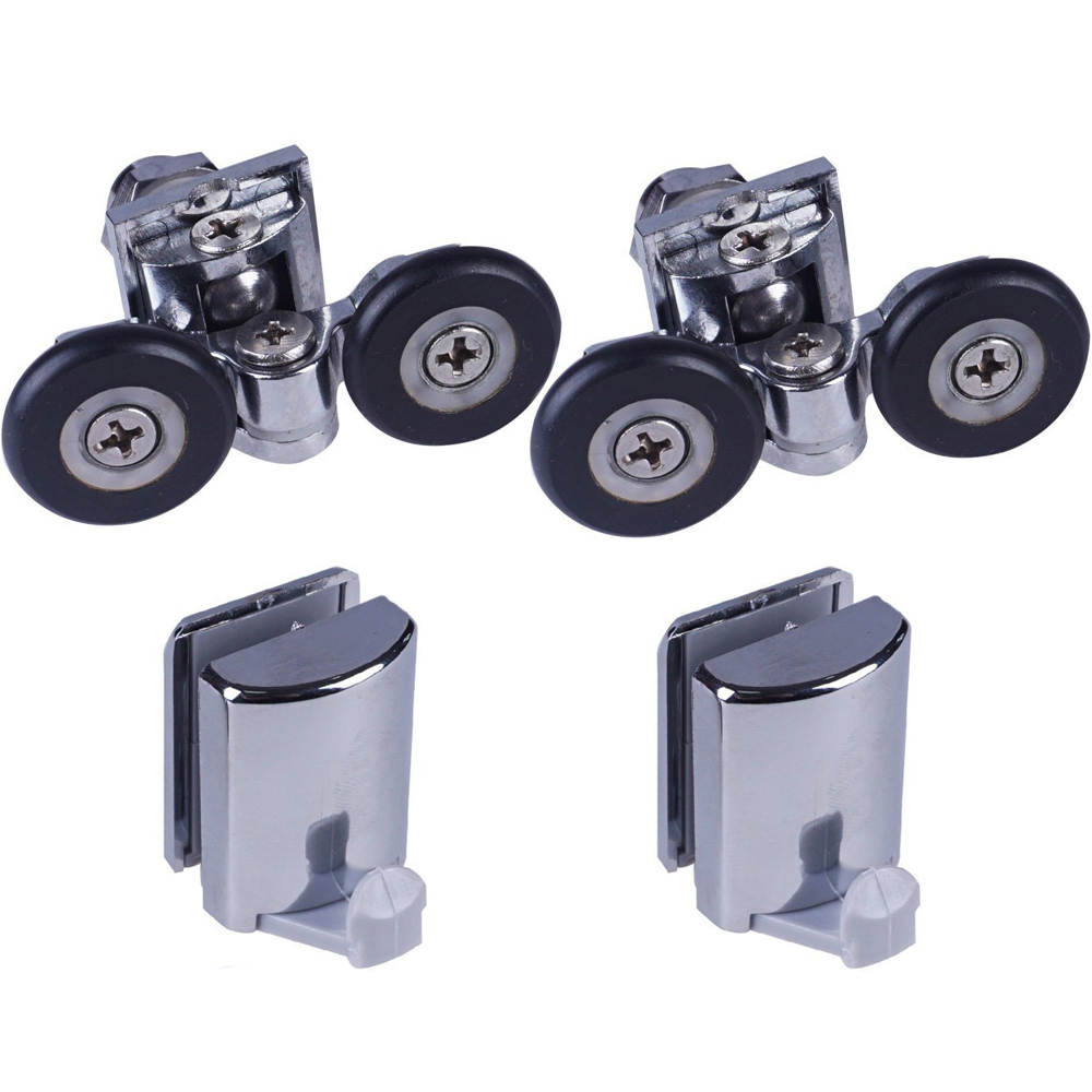 Set Of 2 Shower Door Rollers/Runners/ 2 Hooks/Guides 25mm Wheels Diameter904H/106