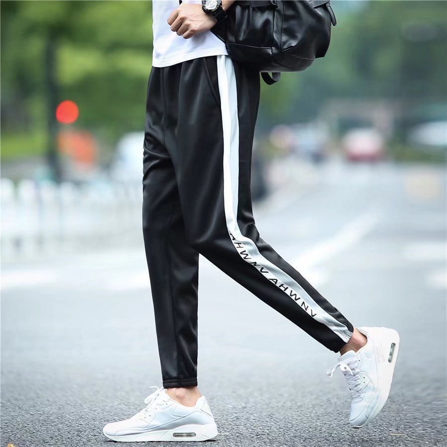 New Style Men's Korean-style Trend 9 Points Ankle Banded Pants Men's Versatile Harem Skinny Sports MEN'S Casual Pants Capri Summ