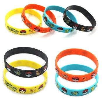 Pokemon Go Silicone Bracelet toys Pikachu Kids Cartoon Wristband Cute Print Jewelry Christmas Halloween Gfts
