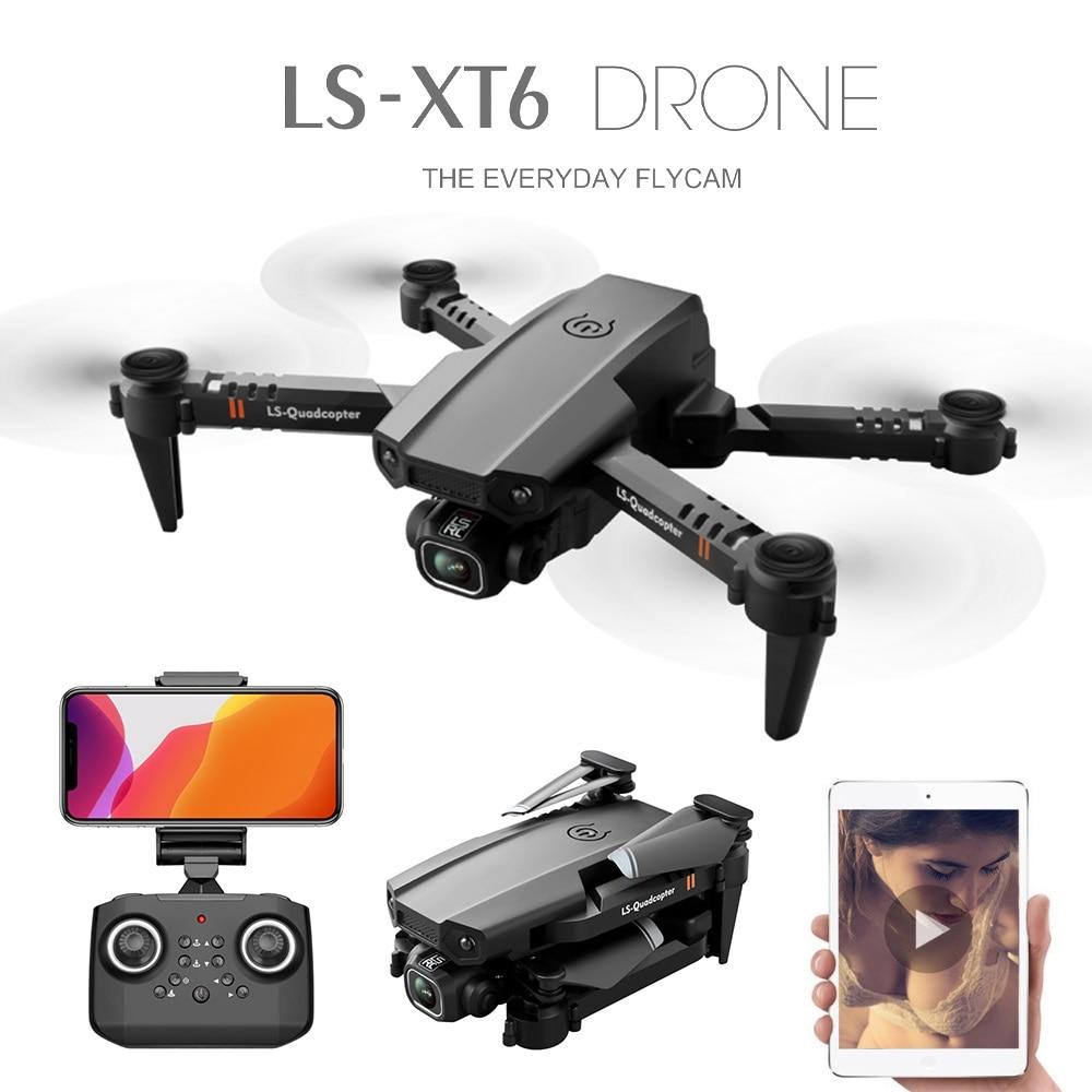 Novo LS XT6 mini rc drone uav quadrocopter wifi fpv com câmera dupla hd 4k altitude hold dobrável quatro eixo aeronave jimitu Helicópteros rc    -