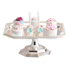 New Square cake stand Silver  iron metal tools high quality wedding table decoator home decoration Dessert Tray Home decora