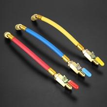 """9.8 """"1/4"""" SAE R134A R410a laiton réfrigérant caht tuyaux de charge ca avec vannes darrêt à bille 250mm 600Psi"""