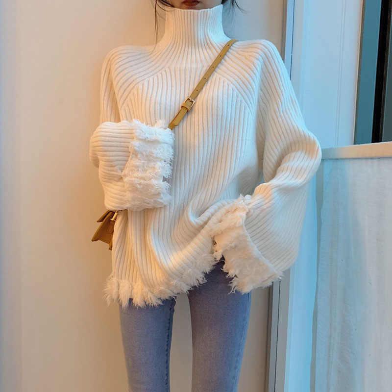여자의 스웨터 술 긴 소매 높은 칼라 풀오버 착용 느슨한 두꺼운 스웨터 탑스 gd139의 가을 새로운 한국어 버전