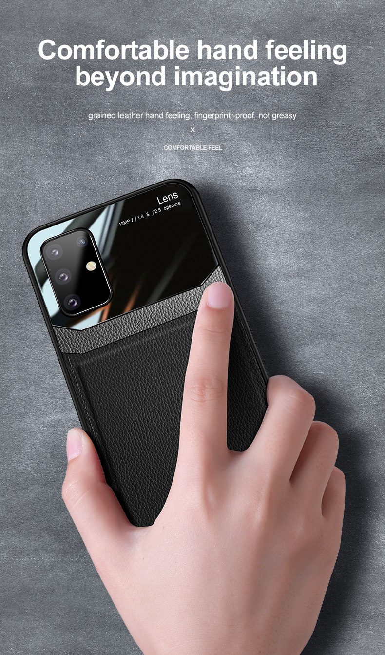 PC Grained Leather Skin-pattern Retro Bumper Back Phone Case for Samsung S20 Plus 8
