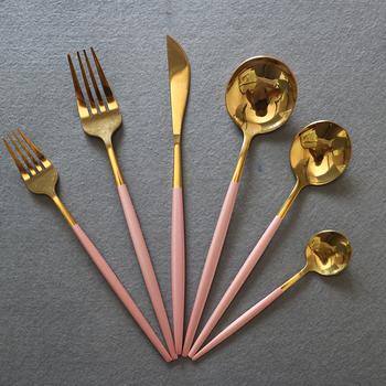 6 sztuk różowe złoto zestaw stołowy luksusowe 18 10 sztućce ze stali nierdzewnej sztućce nóż widelec łyżka sztućce kuchenne zestaw sztućców tanie i dobre opinie MIUUYO Zachodnia Metal Barwiona Stałe Ce ue Lfgb Ekologiczne Zaopatrzony 304 Stainless steel Łyżka widelec nóż zestaw