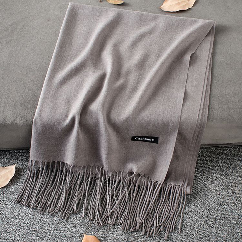 Soft Cashmere Scarves Women 2019 Autumn New Solid Color Wraps Thin Long Scarf with Tassel Casual Lady Winter Female Shawl(China)
