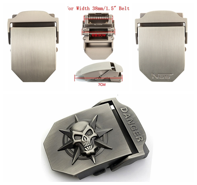 38mm 3d Skull Belt Buckles For Men Automatic Alloy For Girdle Strap Buckles Suitable For Thickness 3.5-4mm Men Canvas Belts