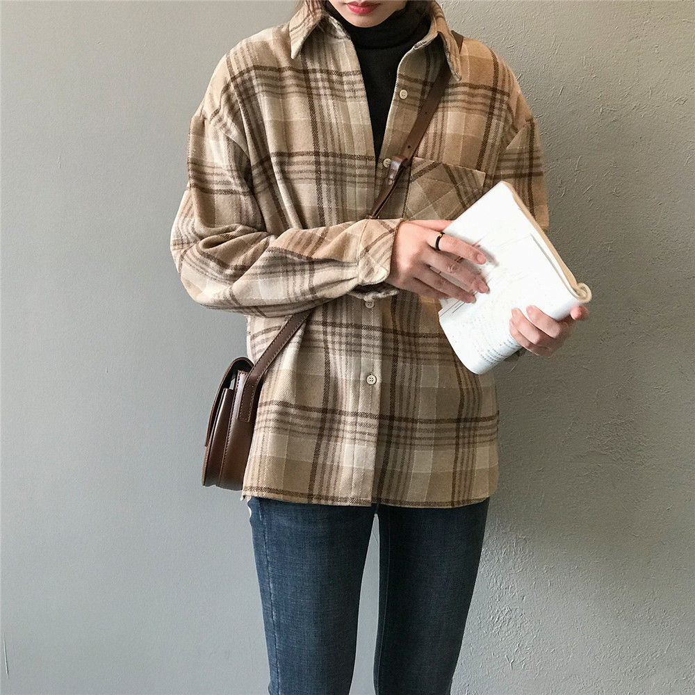 Spring Thick Loose cotton plaid Women blouses shirt 2020 female long sleeve Casual Warm women Blouse shirt office lady top Y0675 (8)