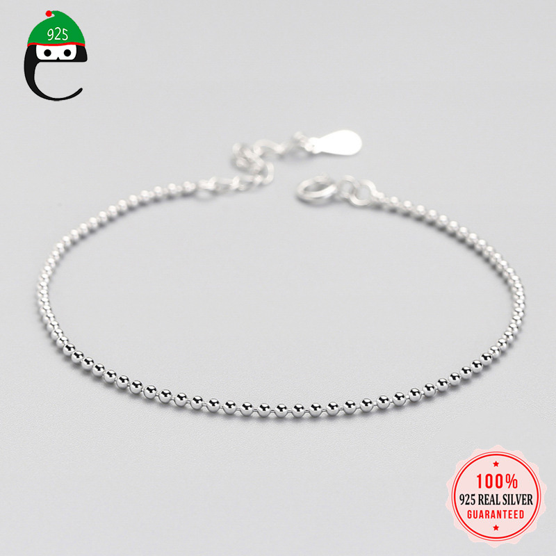 ElfoPlataSi 100% 925 Solid Real Sterling Silver Beads 925 Bracelet For Women Wife Girls Lady Fine Silver Jewelry ED63