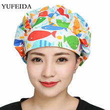 High Quality Men/Women Working Cap Printing Reuseable Unisex Kitchen Cooking Caps For Long Hair Cover Head Wear Scrub Hats New