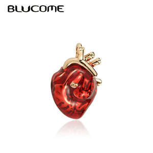 Blucome Red Enamel Vivid Heart Brooches Women Men Sweater Pendant Hospital Clinic Professional Uniform Doctor Brooch Badge Pins(China)