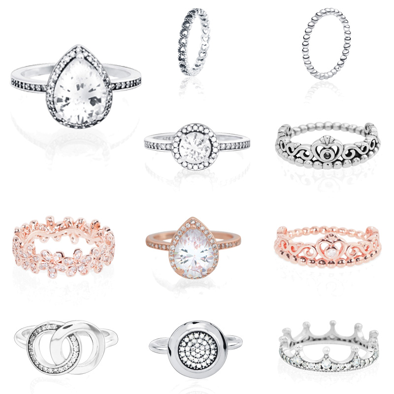 Trendy 925 Sterling Silver Daisy Flower Signature Rings for Women Engagement Jewelry Anniversary