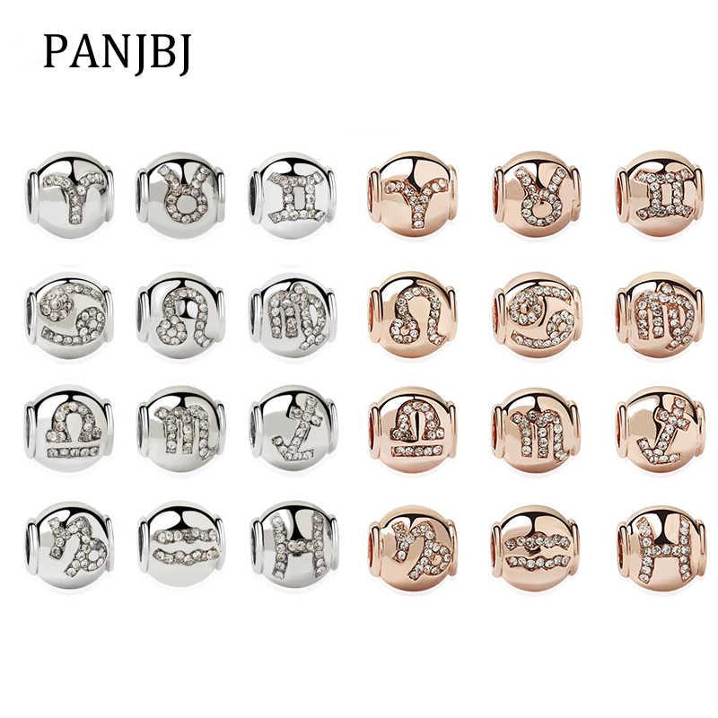 Nowy oryginalny posrebrzany koralik różowe złoto zodiak urodziny urok wyczyść CZ Fit bransoletka Pandora bransoletka naszyjnik DIY kobiety biżuteria