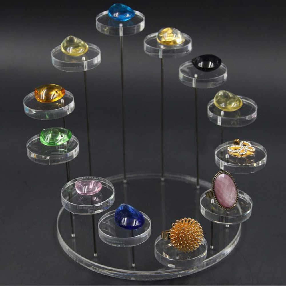 3/12 plateau rond acrylique bijoux présentoirs anneau boucle d'oreille présentoir support bijoux Stoarge supports coffret à bijoux à compartiments