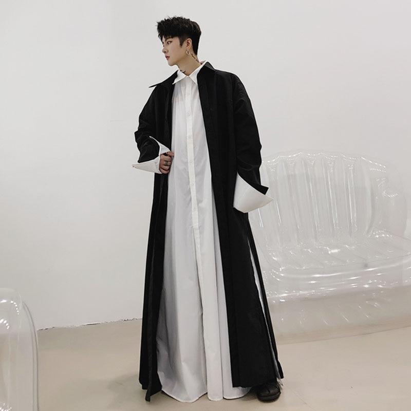 Men Robe Long Sleeve Loose Shirt Cardigan Coat Male Japan Streetwear Gothic Long Style Casual Shirts Jacket Stage Clothing