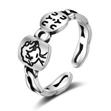 Fashion Personality Little Boy Letter Thai Ring 925 Sterling Silver Lock Chain Opening Ring For Women Men chic hollow out letter opening ring for women