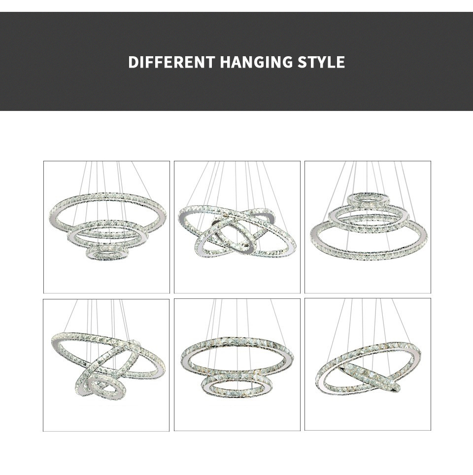 Modern Chandeliers - Modern Crystal 3 Rings Chandeliers Best Children's Lighting & Home Decor Online Store