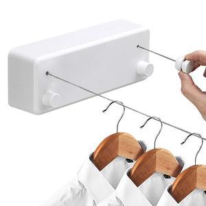 Image 1 - Yaratıcı açık giysi rafı kapalı geri çekilebilir Clothesline halat teleskopik paslanmaz dize çamaşır askıları duvara kurutma rafı
