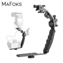Universal Flash Camera Grip L Bracket with 2 Standard Side Hot Shoe Mount for Flash DSLR Video Light Camcorder Holder