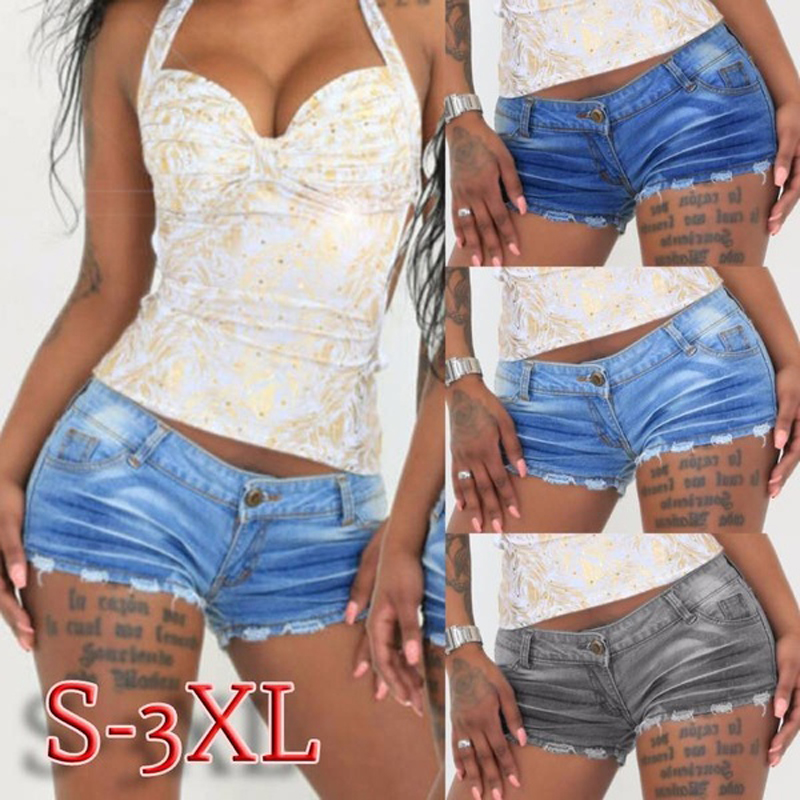 Women Summer Fashion Denim Shorts Ripped Hole Push Up Stretch Jeans Shorts Ladies Casual Short S-3XL