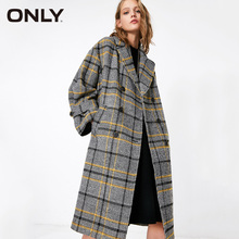 ONLY Women V Neck Double-breasted Checked Trench Coat | 119136501
