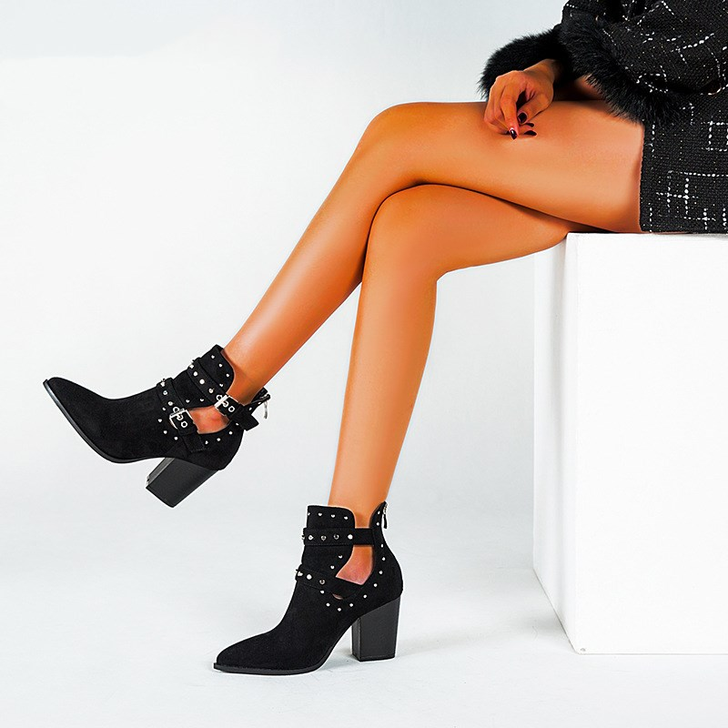 Ladies Motorcycle Western Cowboy Boots Women Snake PU Leather Short Cossacks High Heels Cowgirl Booties Buckle Ankle botas Shoes