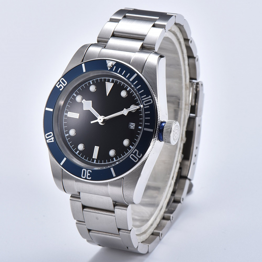 Watch Men 41mm Automatic mechanical watches blue aluminum rotating bezel luminous Military men watch 08