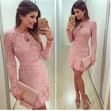 High Quality Elegant Hollow Out Lace Dress Women Long Sleeve Autumn Style Midi-calf Pink Spring Party Vestidos