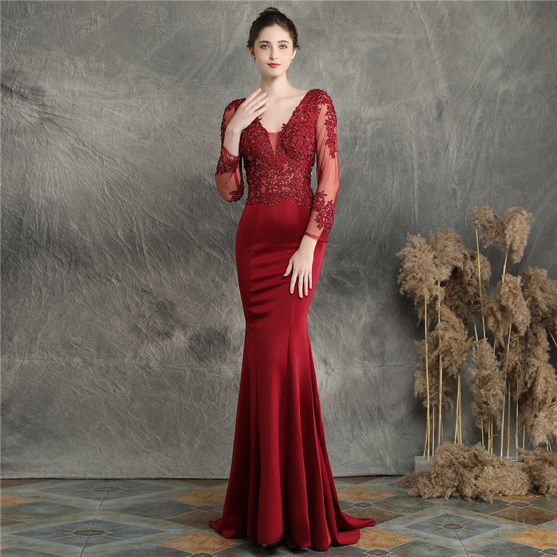 High-end Luxury Banquet Evening Dress 2020 Backless Sexy Long Manual Appliques Party Mermaid Gown Formal Vestidos De Fiesta Lady