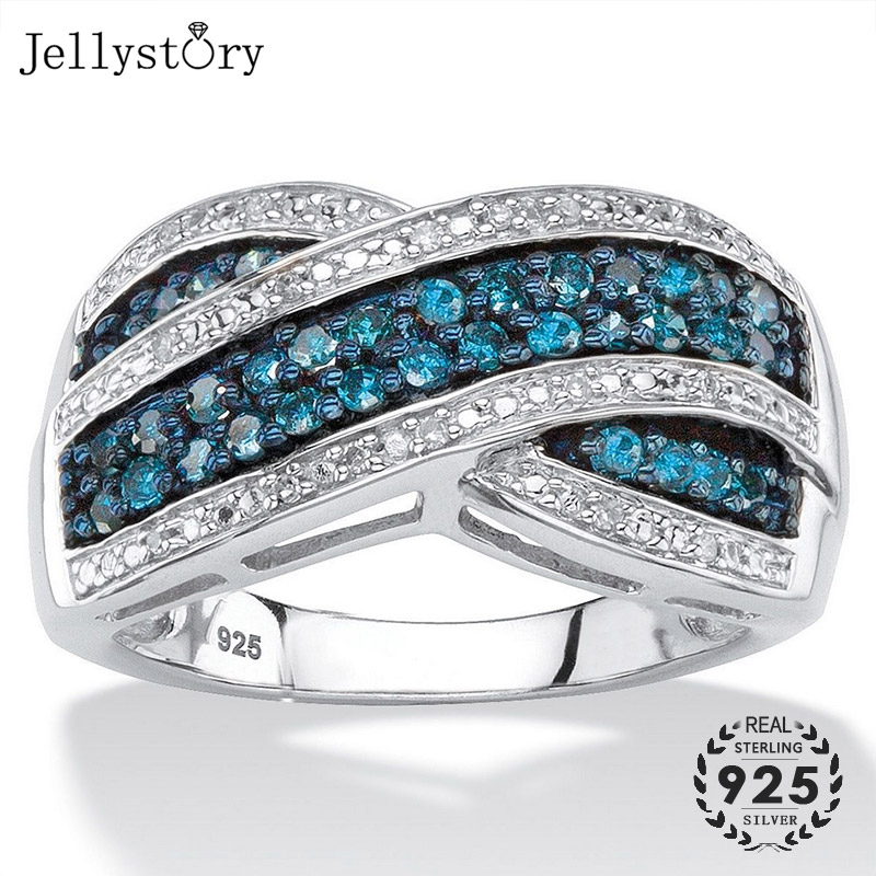 Jellystory Trendy Silver 925 Ring with Sapphire zirocn Gemstones Cross shape Ring for women Wedding Party Gift Jewelry size 6-10