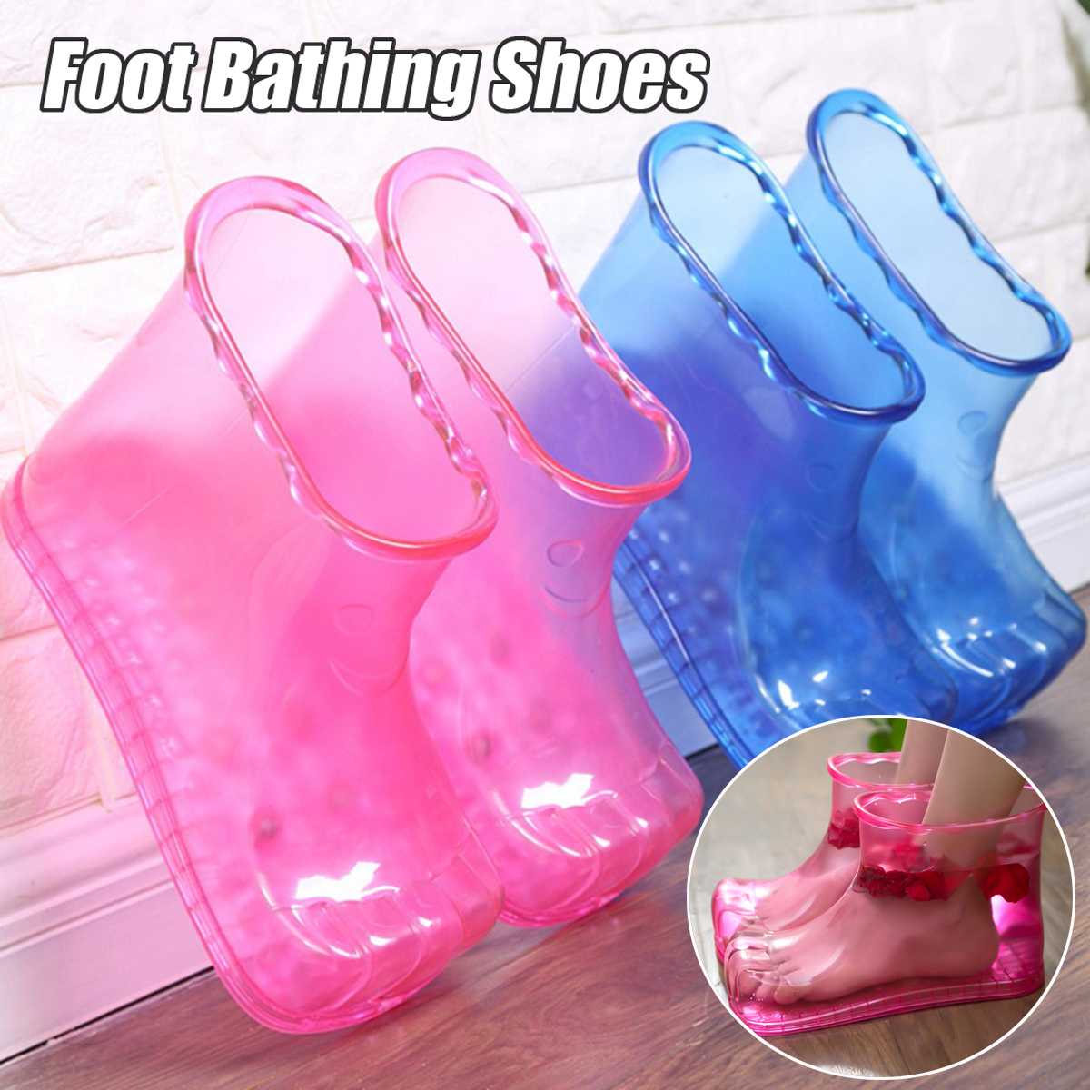 Foot Soak Bath Therapy Massage Shoes Ankle Boots Sole Relaxation Home Feet Care Hot water Neutral Foot Soak 25.6cm