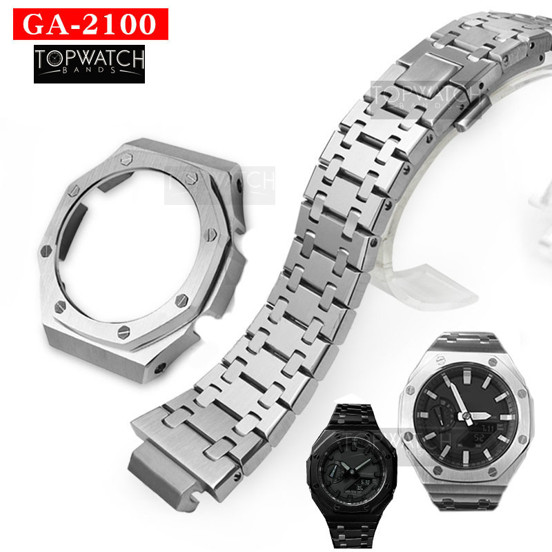 Set Watch-Set Stainless-Steel Metal GA2100 GA-2110 Bezel 100%316l Second-Generation