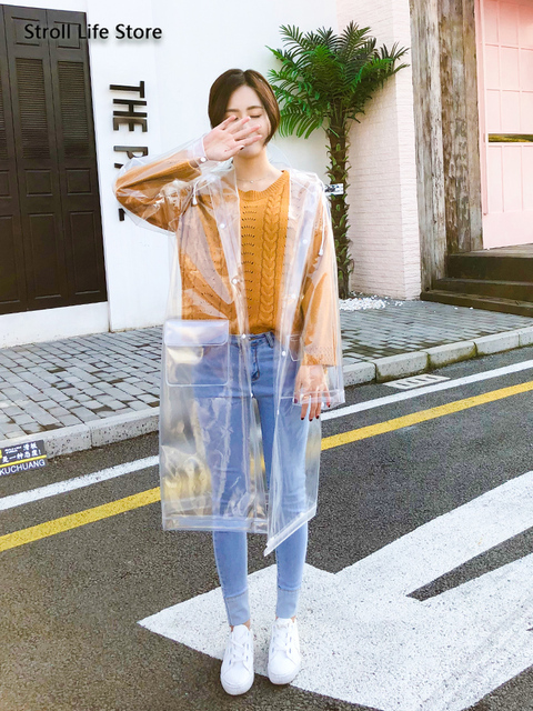 Transparent Long Rain Coat Women Adult Hiking Clear Raincoat Lengthened  Electric Motorcycle Rain Suit Poncho Plastic Suit Gift 2